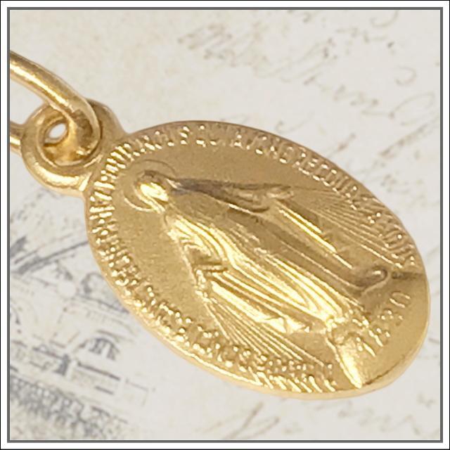 Sサイズ 真鍮ゴールド不思議のメダイ 奇跡のメダイ フランス教会正規品 本物 聖母 マリア ペンダント トップ ヘッド メダル ゴールド ネックレス|spica-france|02