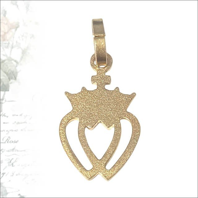 金色透かしハートクラウン紋章のメダイユ パリ サクレクール寺院正規品 フランス製 ペンダント ヘッド トップ メダル ゴールドネックレス|spica-france|02