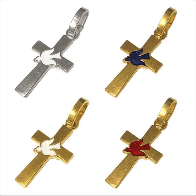 平和の鳩ミニクロス 十字架 パリ サクレクール寺院正規品 フランス教会 ゴールド シルバー ペンダント トップ ヘッド ネックレス 鳥 バード spica-france