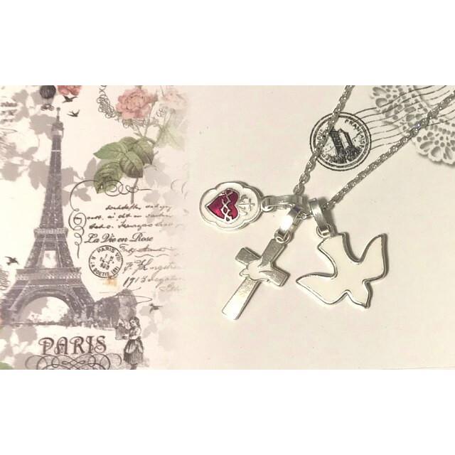 平和の鳩ミニクロス 十字架 パリ サクレクール寺院正規品 フランス教会 ゴールド シルバー ペンダント トップ ヘッド ネックレス 鳥 バード spica-france 06