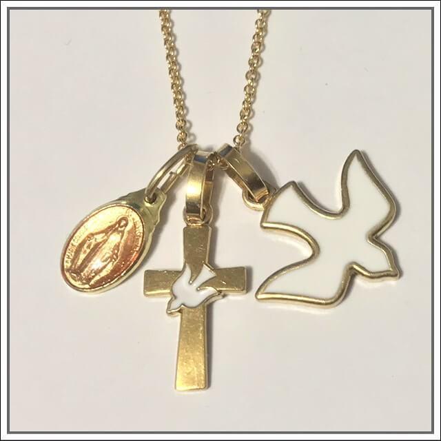 平和の鳩ミニクロス 十字架 パリ サクレクール寺院正規品 フランス教会 ゴールド シルバー ペンダント トップ ヘッド ネックレス 鳥 バード spica-france 08