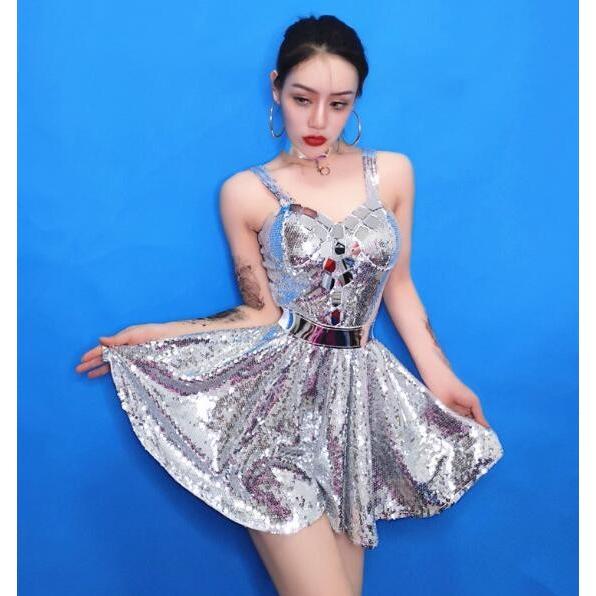 スパンコール 衣装 レディース ワンピース ヒップホップ ダンス衣装 キラキラ コスチューム ステージ イベント 発表会 演出服