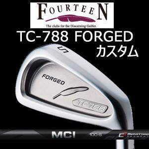 (カスタム特注仕様品) FOURTEEN フォーティーン TC-788 FORGED ニッケルクロムメッキ・サテン仕上げ #5〜PW 6本組 MCI 黒(MCIブラック)