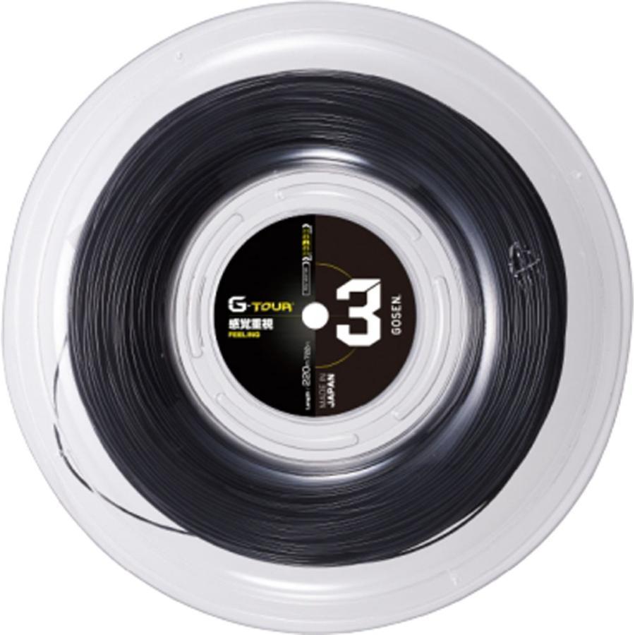 GOSEN ゴーセン 硬式テニス用 ガット G−TOUR 3 16L ブラック 220mロール TSGT302BK