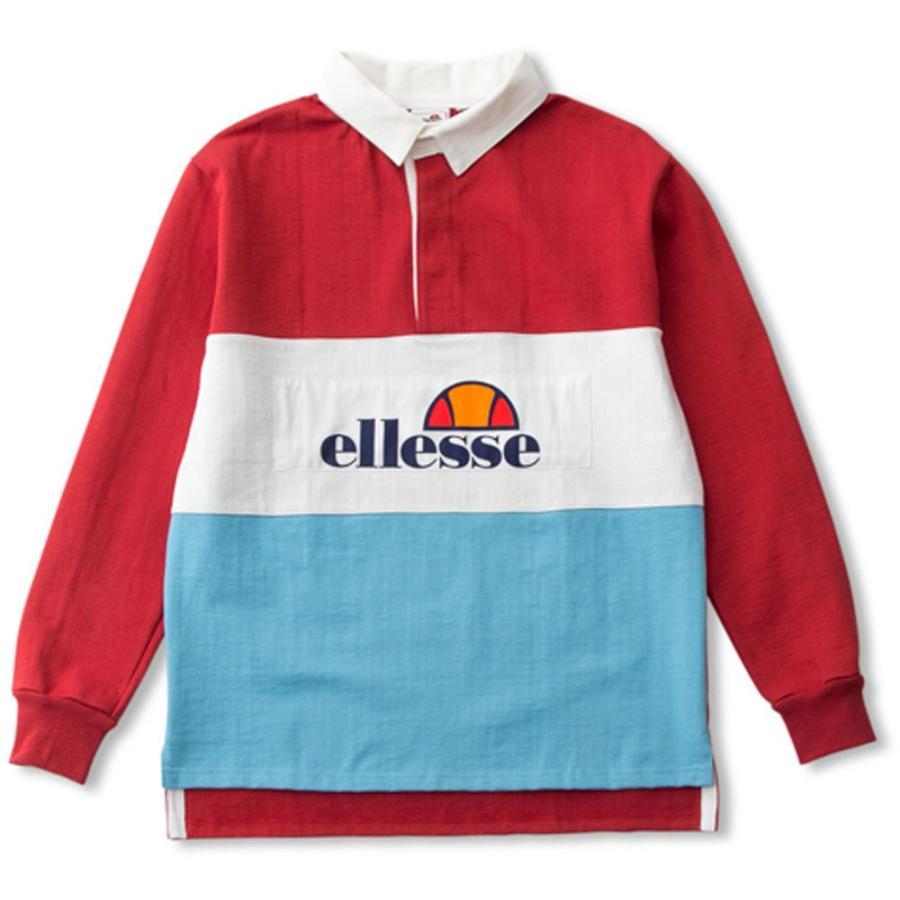 ELLESSE(エレッセ) EH37184 メンズ テニスウェア HERITAGE+ ラガーシャツ レッド
