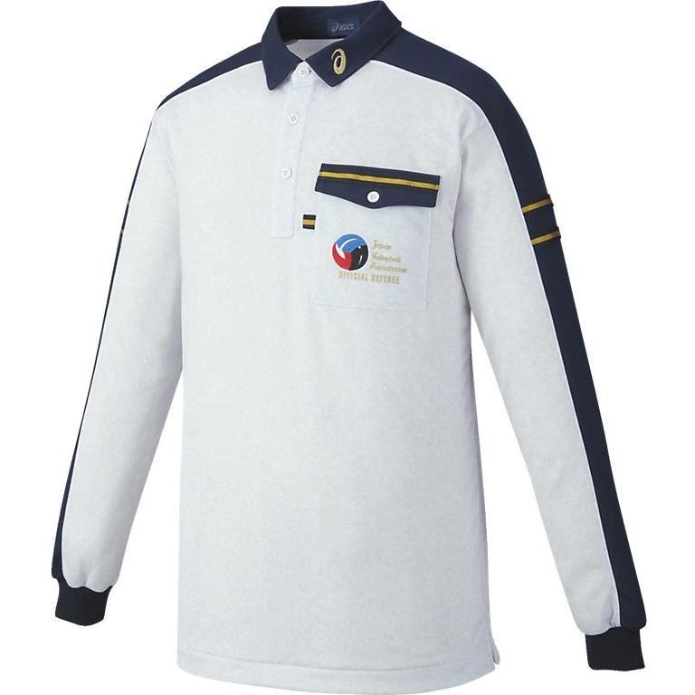 アシックス XW6315 レフリーシャツLS レフリー ウェア ホワイト杢×ネイビー