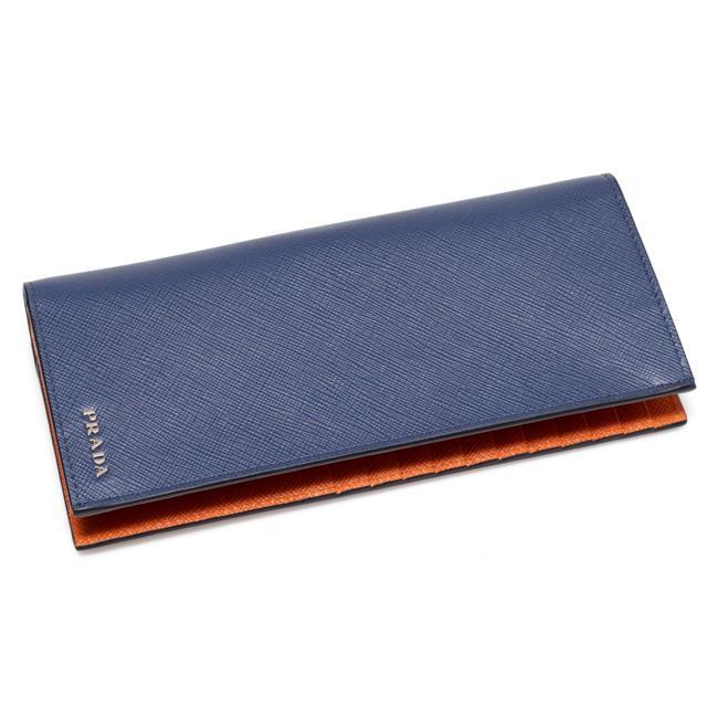 2edf9f99cef2 プラダ PRADA 二つ折り長財布 ブルー/オレンジ 2MV836 C5S f0CV5 ...