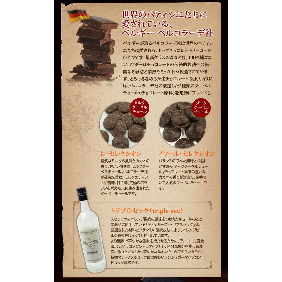生チョコレート Sai 10粒入(凍) チョコ ギフト 生チョコ チョコレート スイーツ|srr-shop|04