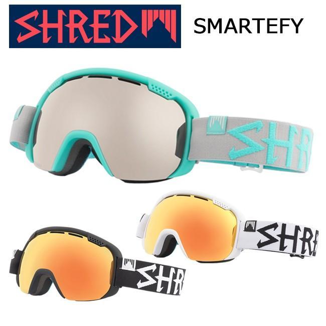 ゴーグル スノーゴーグルSH赤 シュレッドSMARTEFY スマーティファイ ダブルレンズ 球面レンズ ヘルメット対応 くもり止め