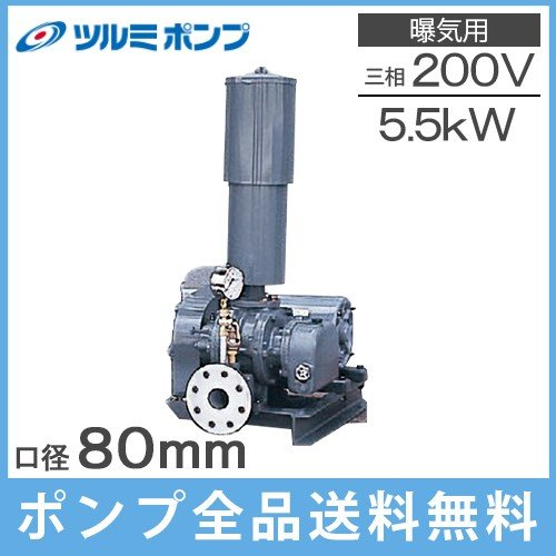 ツルミポンプ ルーツブロワー RSR-80 5.5kw 三相200V浄化槽 ブロアー エアーポンプ エアポンプ
