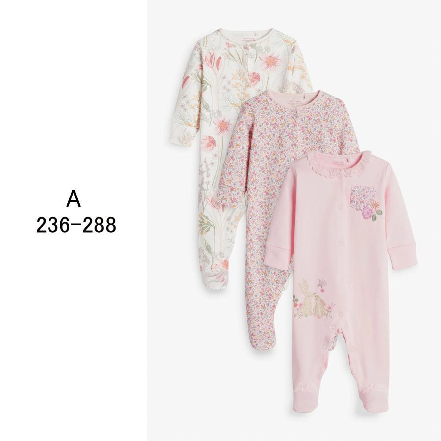 ネクスト  NEXT  ベビー服 ロンパース  3枚パック  女の子 8種類 スリープスーツ カバーオール 足つき 新生児 0-18ヶ月 長袖[衣類]|ssshop|02