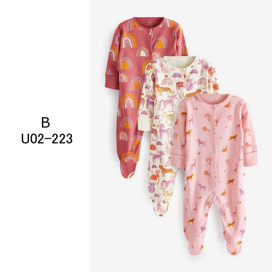 ネクスト  NEXT  ベビー服 ロンパース  3枚パック  女の子 8種類 スリープスーツ カバーオール 足つき 新生児 0-18ヶ月 長袖[衣類]|ssshop|03