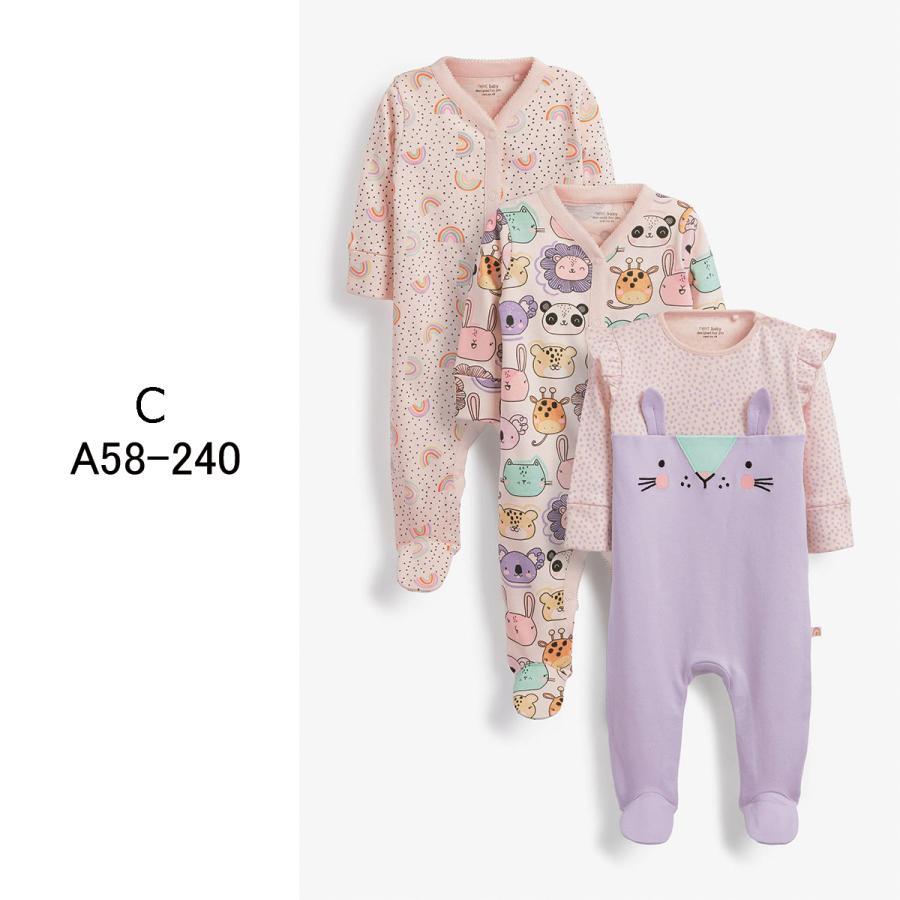 ネクスト  NEXT  ベビー服 ロンパース  3枚パック  女の子 8種類 スリープスーツ カバーオール 足つき 新生児 0-18ヶ月 長袖[衣類]|ssshop|04