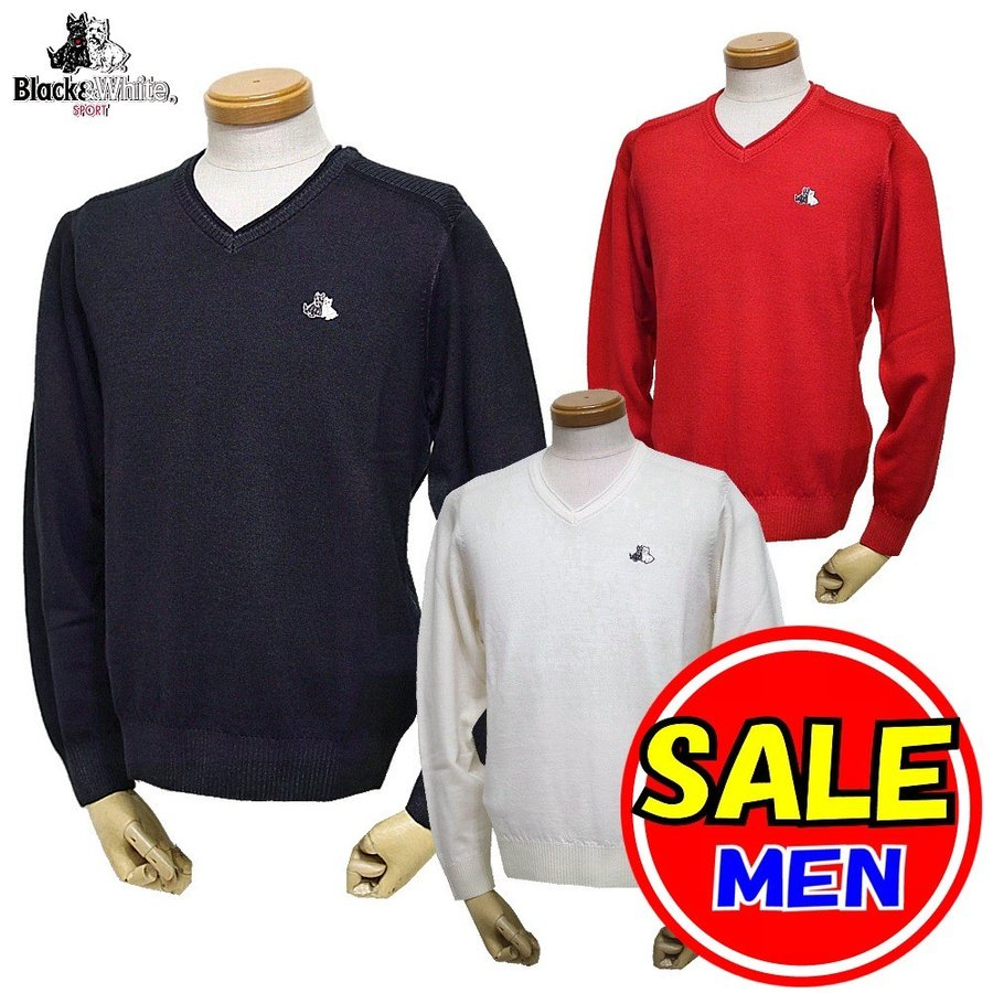 【40%OFF!セール】ブラック&ホワイト / ブラック アンド ホワイト/秋冬モデル!薄手セーター/Vネックセーター(メンズ)