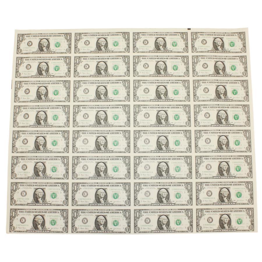 【本物 レア】 アメリカ1ドル紙幣未裁断32面シート(米ドル) stamp-coin-ebisu