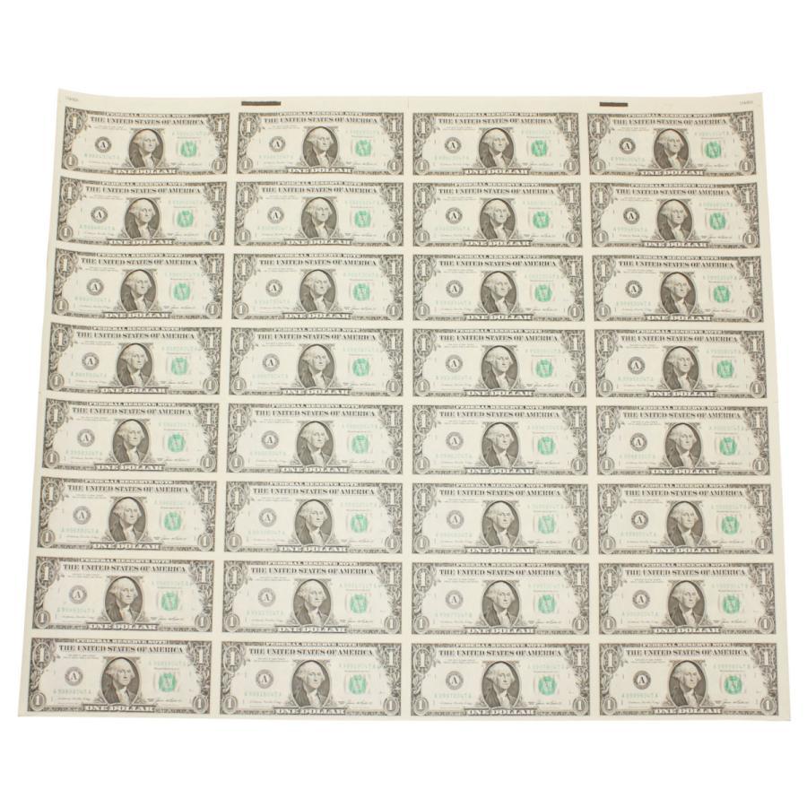 【本物 レア】 アメリカ1ドル紙幣未裁断32面シート(米ドル) stamp-coin-ebisu 06