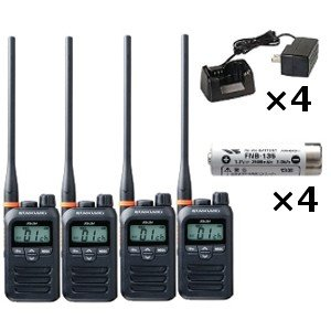 スタンダード 八重洲無線 FTH-314L 特定小電力トランシーバー ×4+ FNB-135 ニッケル水素電池 ×4+ SBH-31 急速充電器 ×4セット 無線機 インカム