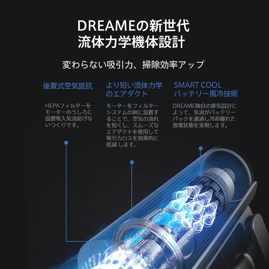 【予約販売】 Dreame コードレス掃除機 T20 サイクロン式 スタンド付き 掃除機乾湿両用 充電式 超強力吸引 25000Pa 最長70分間連続作業 PSE認証 1年保証|starq-online|06