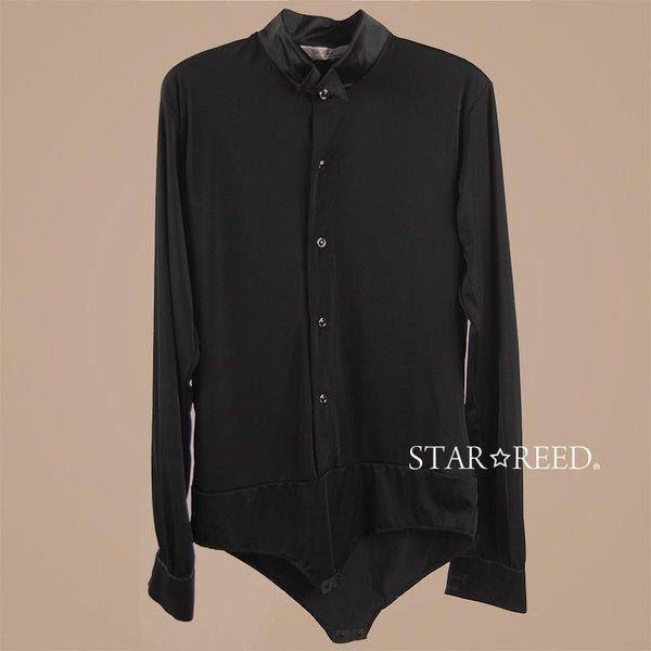 社交ダンス メンズ シャツ ウィングカラー レオタード  黒 ストレッチシャツ ステージ衣装 starreed