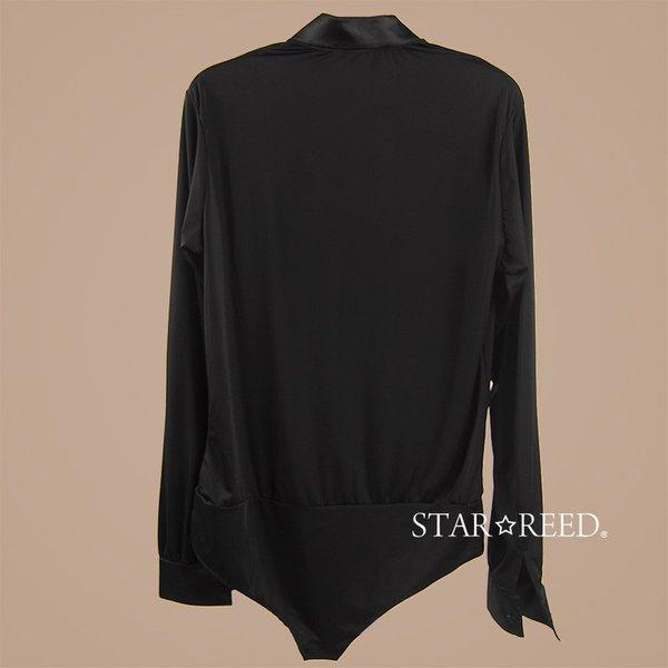 社交ダンス メンズ シャツ ウィングカラー レオタード  黒 ストレッチシャツ ステージ衣装 starreed 02