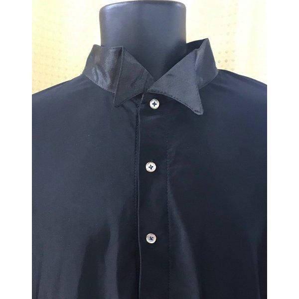 社交ダンス メンズ シャツ ウィングカラー レオタード  黒 ストレッチシャツ ステージ衣装 starreed 04