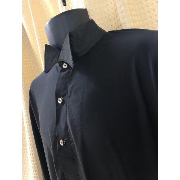 社交ダンス メンズ シャツ ウィングカラー レオタード  黒 ストレッチシャツ ステージ衣装 starreed 05