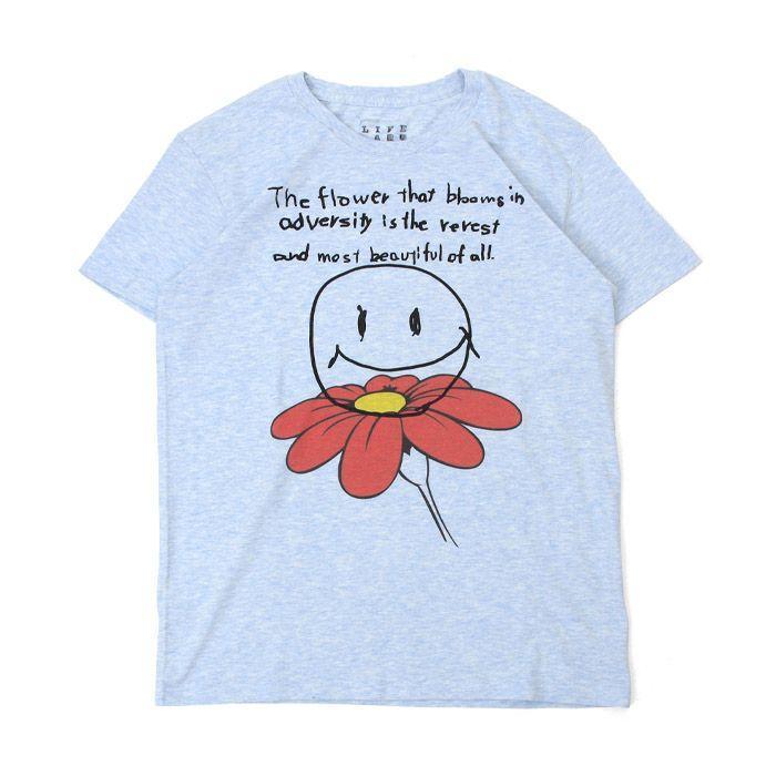 Tシャツ ライフ イズ アート Smile Melange Blue メンズ stayblue