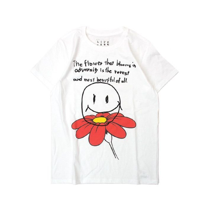 Tシャツ ライフ イズ アート Smile White レディース|stayblue