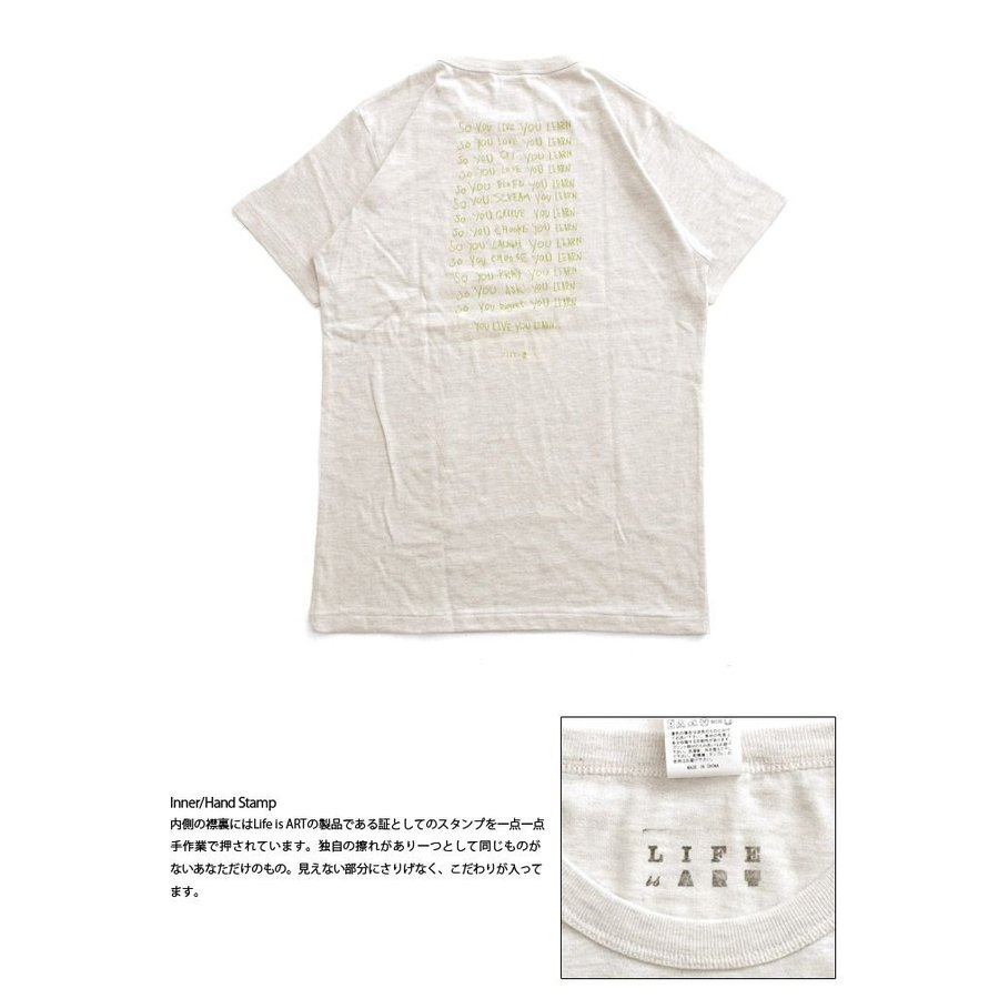 Tシャツ ライフ イズ アート × Chos Tシャツ NOT JUST A BEAUTIFUL Oatmeal メンズ stayblue 03