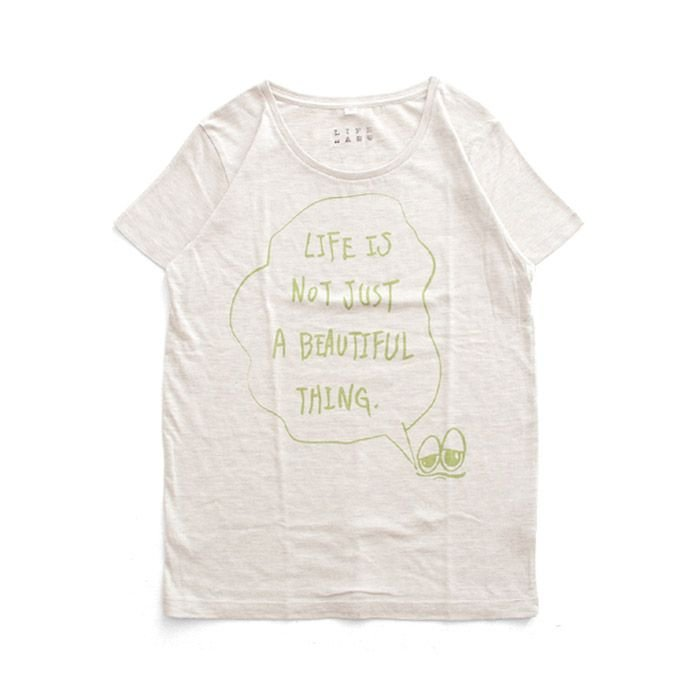 Tシャツ ライフ イズ アート × Chos Tシャツ NOT JUST A BEAUTIFUL Oatmeal レディース|stayblue