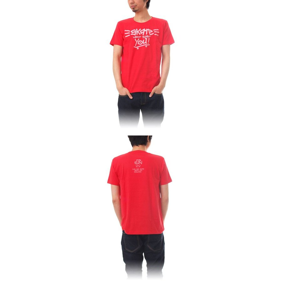 Tシャツ ライフ イズ アート × THE FUN Tシャツ SKATE Red メンズ|stayblue|02