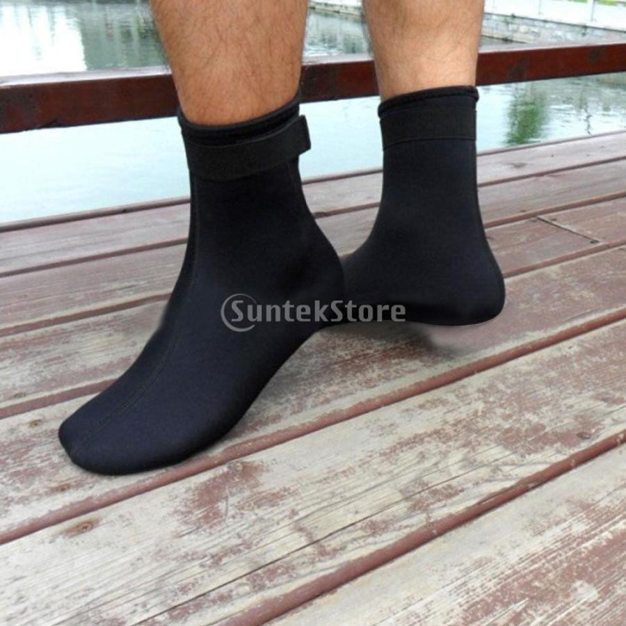 ノーブランド品 ダイビング ソックス 水泳 靴下 ブーツ ウォーター スポーツ サーフィン 黒 M|stk-shop
