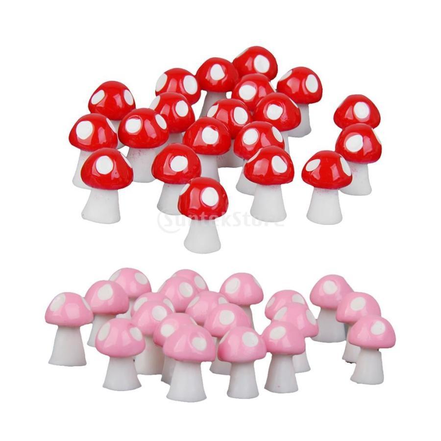 [再販ご予約限定送料無料] プレゼント 40点セット マイクロ景観置物 キノコの装飾 ミニチュア 盆栽 ガーデン ピンク+レッド 樹脂 飾り物 全2カラー -