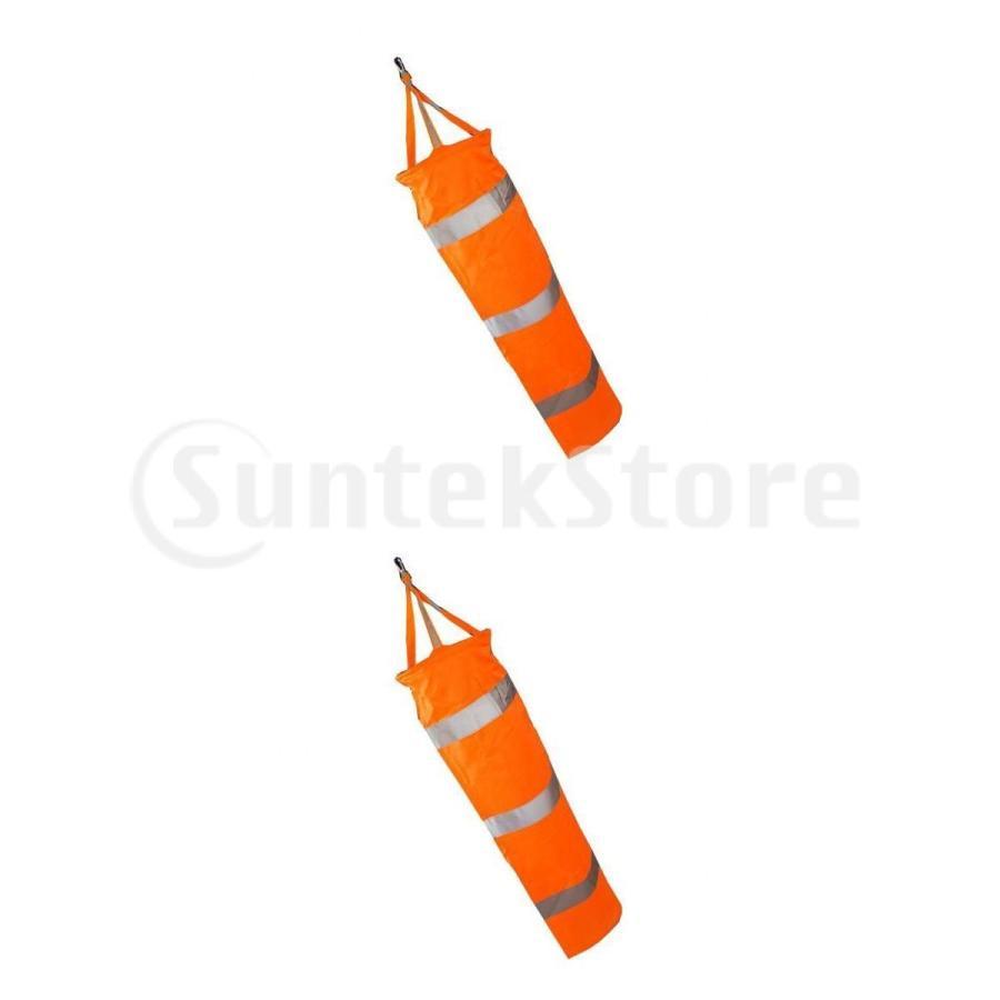 2つの空港吹流しのセット-ハンギングデコレーション-オレンジと白-60cm 24インチ 30インチ 80cm 大幅にプライスダウン 休み