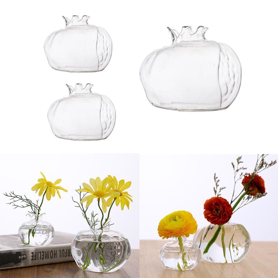 ☆国内最安値に挑戦☆ 3ピース 個透明なガラスのつぼみ花瓶コンテナザクロの形家の装飾 お洒落