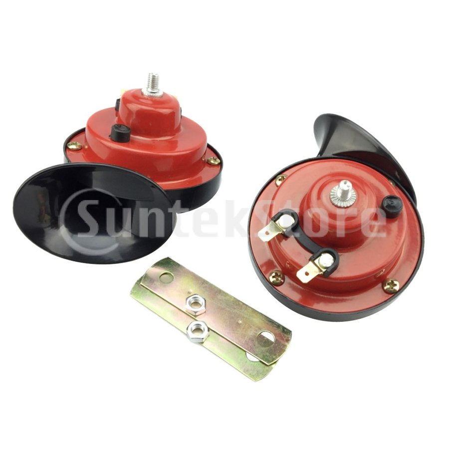 カー ダブルトーン カタツムリ型エアホーン 電動 12V 110dB スーパーラウド 部品|stk-shop