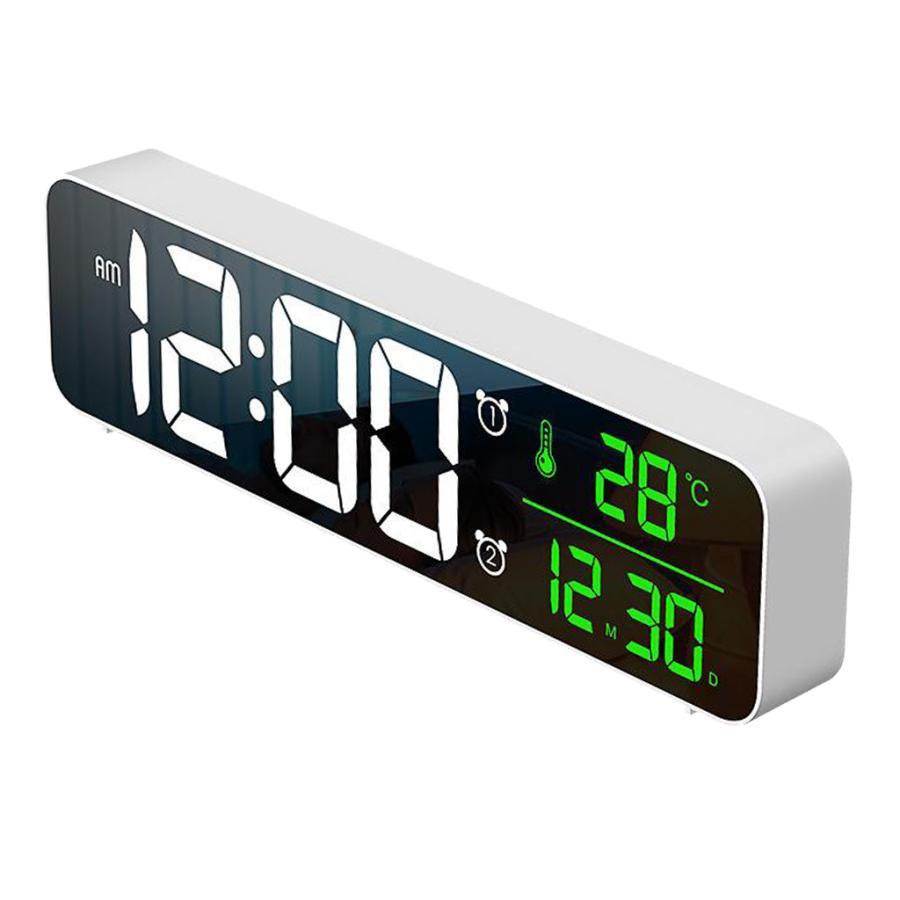 ホワイト デジタル時計大型ディスプレイ 目覚まし時計の寝室の机のデジタル大型ディスプレイ|stk-shop