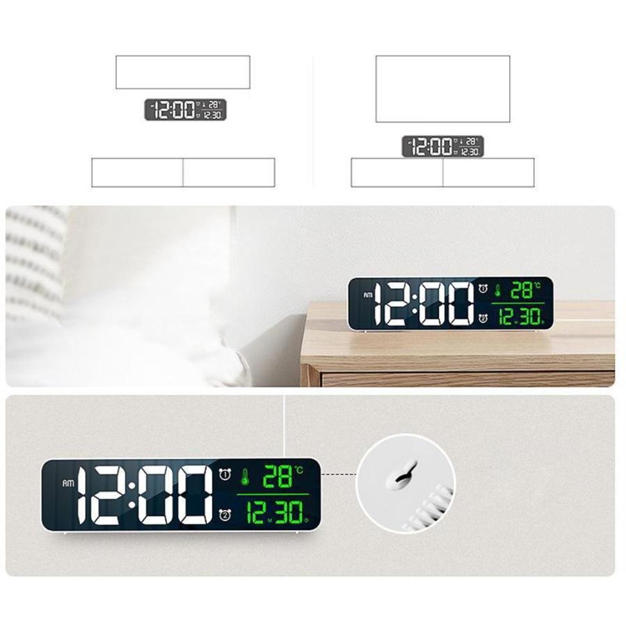 ホワイト デジタル時計大型ディスプレイ 目覚まし時計の寝室の机のデジタル大型ディスプレイ|stk-shop|02