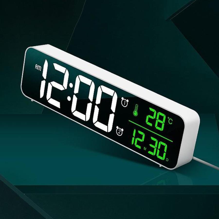 ホワイト デジタル時計大型ディスプレイ 目覚まし時計の寝室の机のデジタル大型ディスプレイ|stk-shop|03