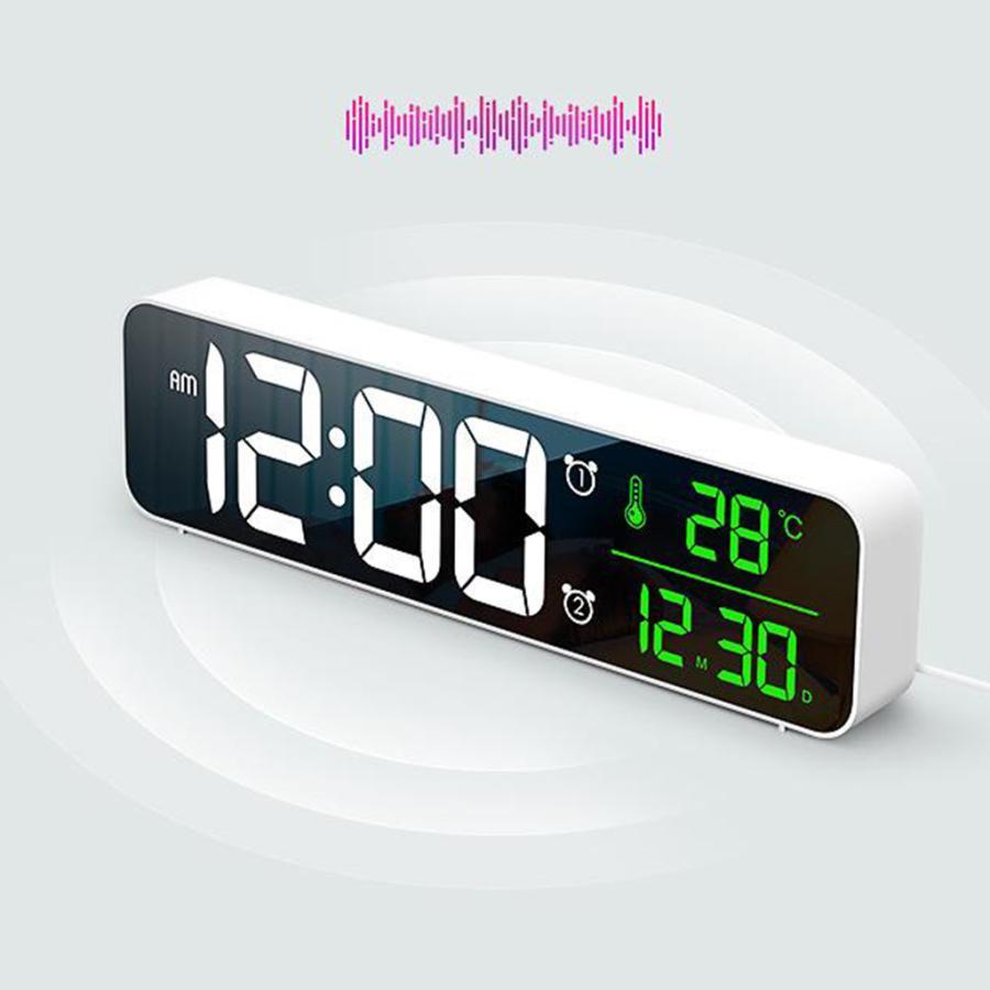 ホワイト デジタル時計大型ディスプレイ 目覚まし時計の寝室の机のデジタル大型ディスプレイ|stk-shop|04