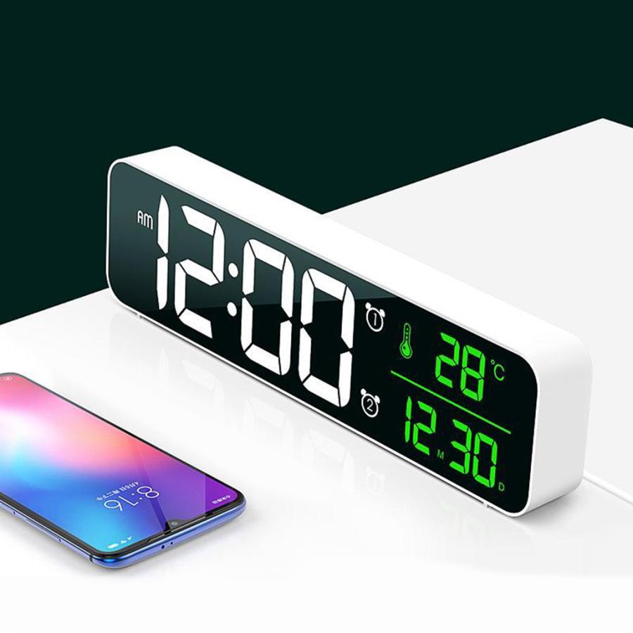ホワイト デジタル時計大型ディスプレイ 目覚まし時計の寝室の机のデジタル大型ディスプレイ|stk-shop|05