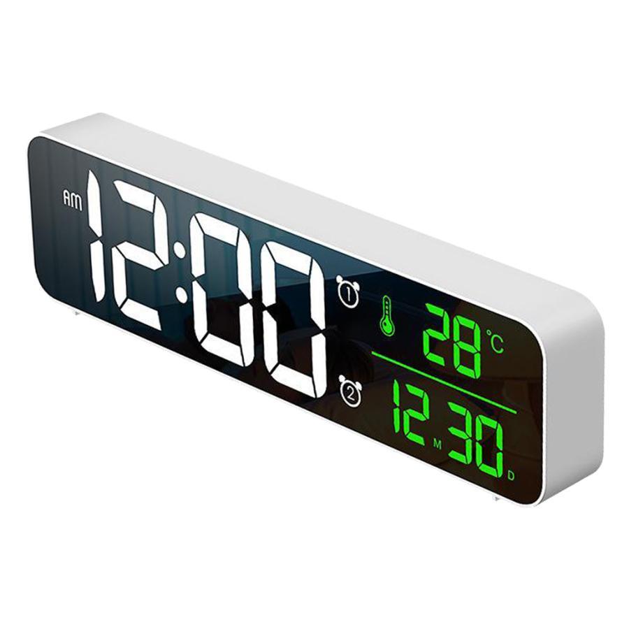 ホワイト デジタル時計大型ディスプレイ 目覚まし時計の寝室の机のデジタル大型ディスプレイ|stk-shop|06