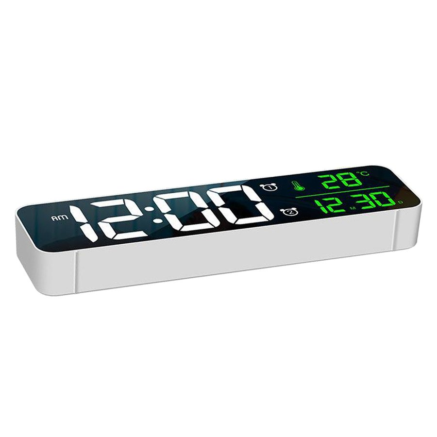 ホワイト デジタル時計大型ディスプレイ 目覚まし時計の寝室の机のデジタル大型ディスプレイ|stk-shop|07