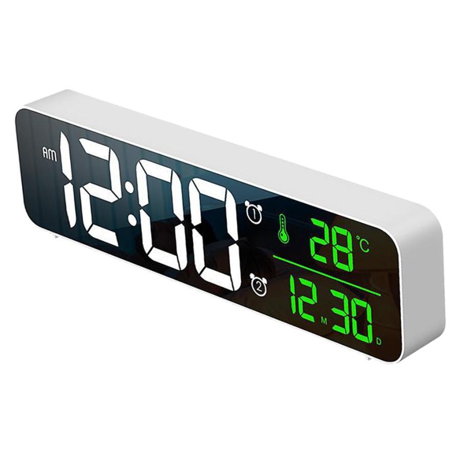 ホワイト デジタル時計大型ディスプレイ 目覚まし時計の寝室の机のデジタル大型ディスプレイ|stk-shop|08