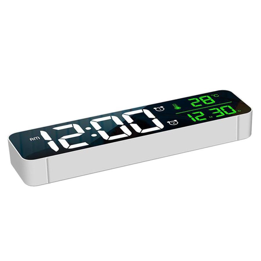 ホワイト デジタル時計大型ディスプレイ 目覚まし時計の寝室の机のデジタル大型ディスプレイ|stk-shop|09