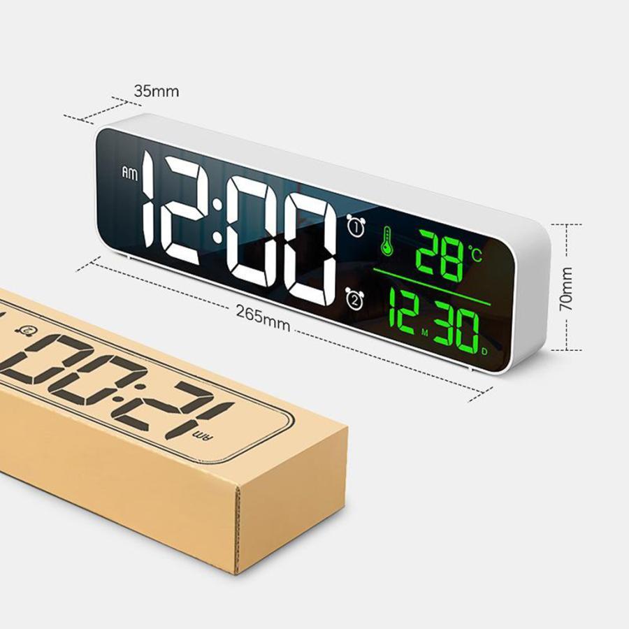 ホワイト デジタル時計大型ディスプレイ 目覚まし時計の寝室の机のデジタル大型ディスプレイ|stk-shop|10