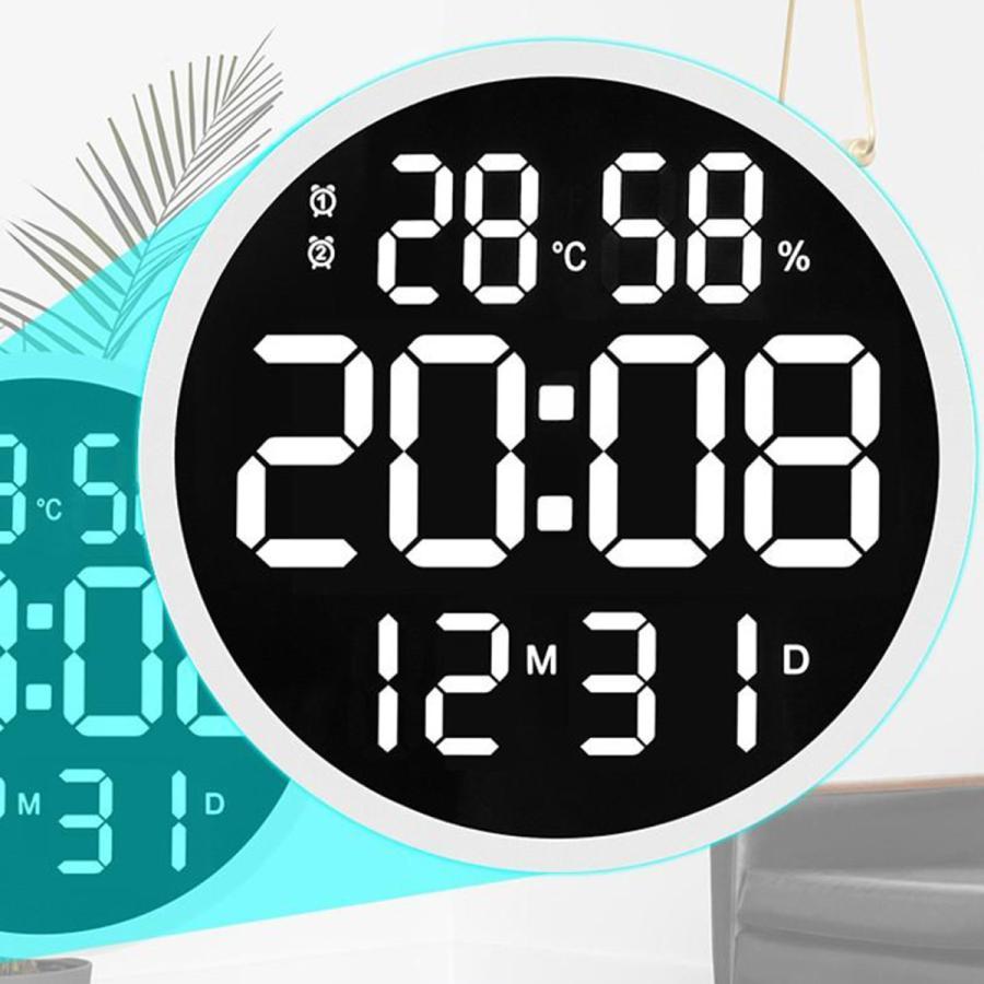 ルミナスデジタル壁掛け時計温度湿度表示時計黒|stk-shop