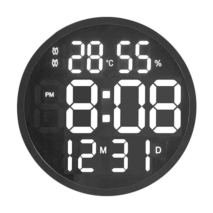 ルミナスデジタル壁掛け時計温度湿度表示時計黒|stk-shop|02