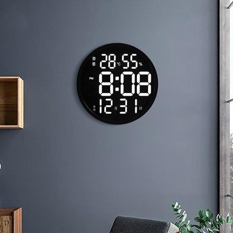 ルミナスデジタル壁掛け時計温度湿度表示時計黒|stk-shop|04