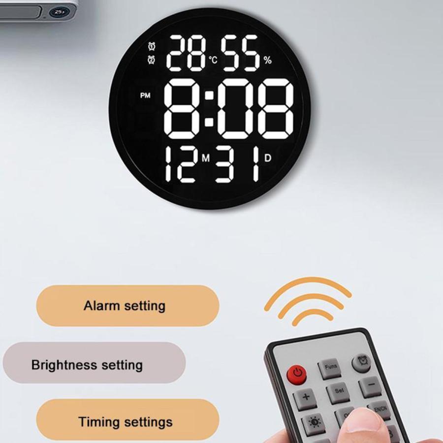 ルミナスデジタル壁掛け時計温度湿度表示時計黒|stk-shop|05